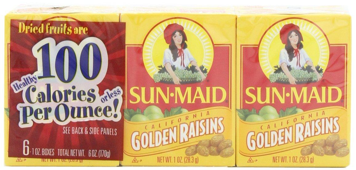 Sun Maid California Golden Raisins (1-Ounce), 6-Count Boxes (Pack of 12)