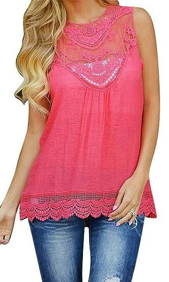496168ede19 Fensajomon Womens Summer Lace Stitch Sleeveless Solid Chiffon Tank Top  Shirt Blouse Top 1 XXS