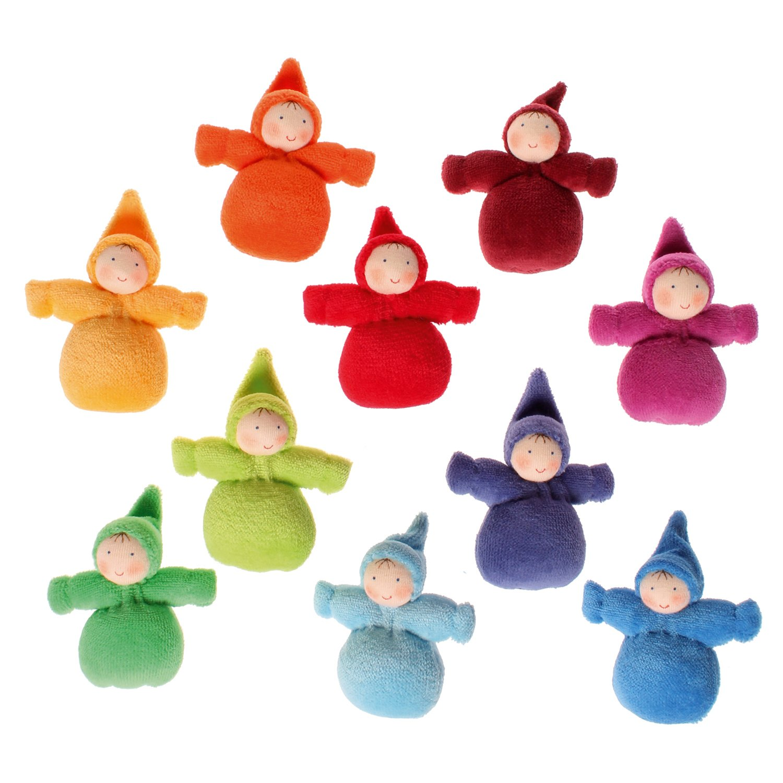 Set of 10 Grimm's Rainbow of Little Waldorf Dolls in Organic Cotton