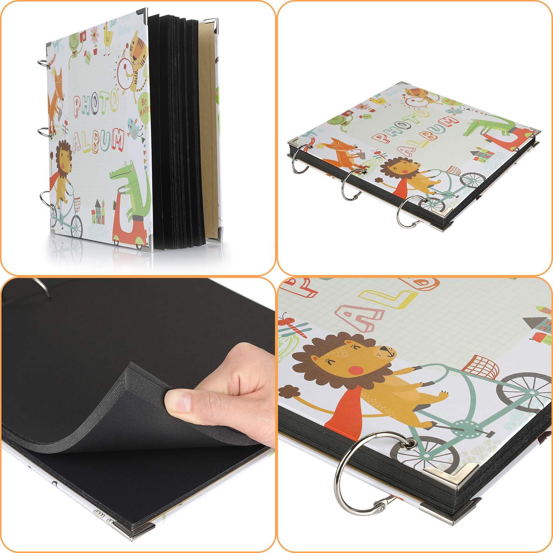 Family Graduation Gift Wedding Anpro Album Scrapbook 26X26cm DIY Accessory Set 80 Pages Black Page 40 Photos Suitable for Anniversary