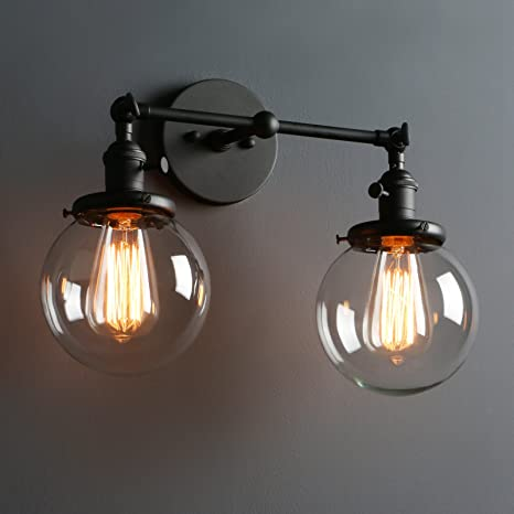 Awesome Phansthy Glass Wall Sconce 2 Light Industrial Wall Sconce 5.9u201d Edison Globe  Wall Light Shade