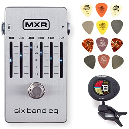 Amazon.com: MXR M109S Six Band EQ Guitar Effects Pedal Bundle with Dunlop Pick Pack and Clip-On Tuner: Musical Instruments