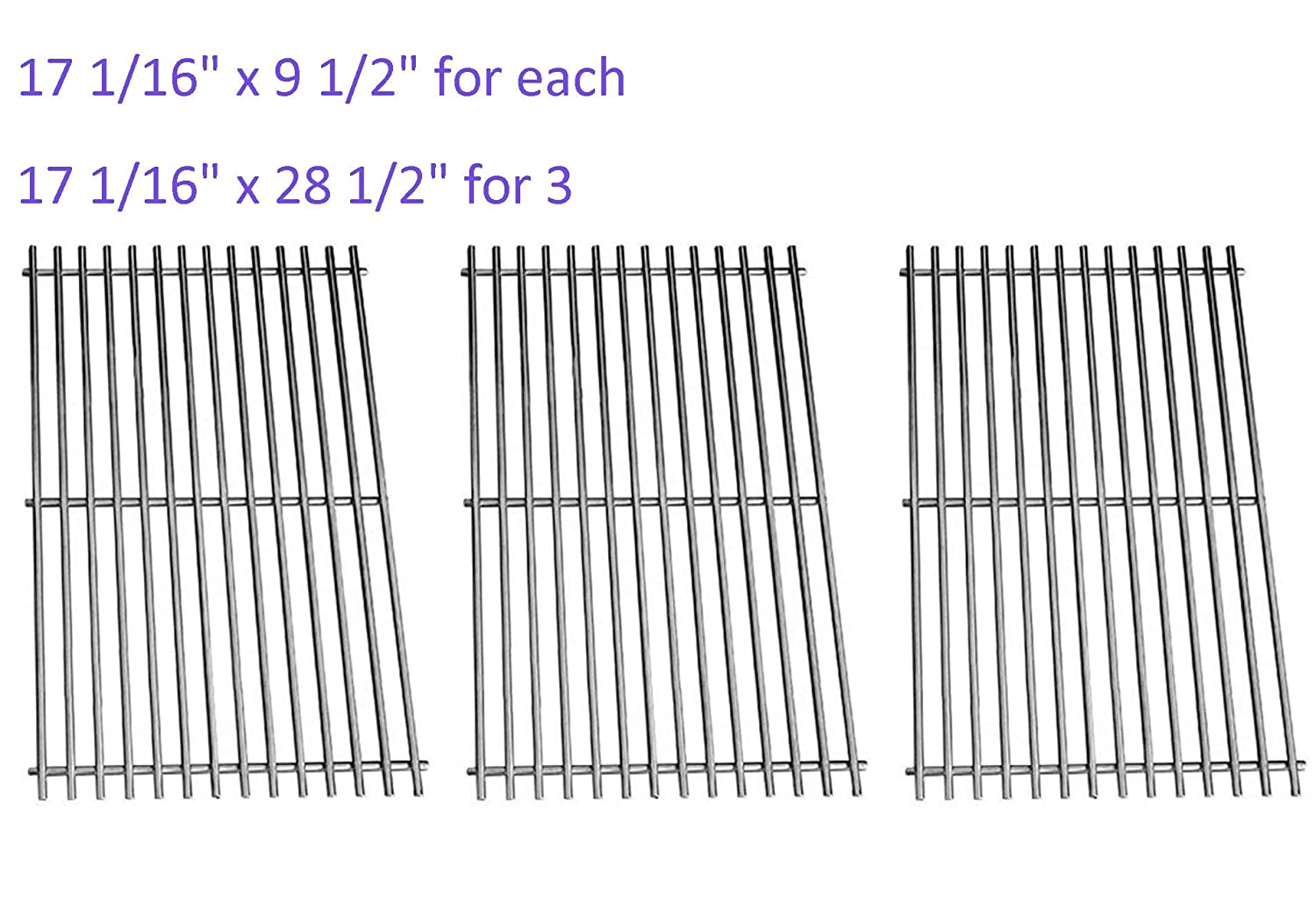 Grill Grate 17 1/16 Grill Replacement Parts for Charbroil 463242715, 463242716, 463276016, 466242715, 466242815, Stainless Steel(3 Pack, 17 1/16 x 9 1/2) 17 1/16 x 9 1/2) Sweetcook