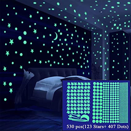 Alrens Glow In The Dark Stars 530pcs Glow In The Dark Stickers For Ceiling Wall Glow Stars Wall Stickers Home Decor For Bedroom Girls