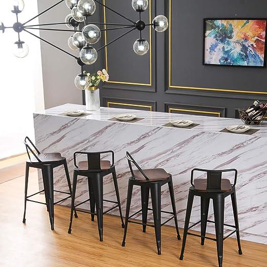 Changjie Furniture 26 Inch Swivel Metal Bar Stool Kitchen Counter Barstools  Low Back Set of 4 (26 inch, Swivel Low Back Matte Black Wooden)