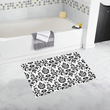 . Amazon com  InterestPrint Elegant Damask Black and White Floral Home
