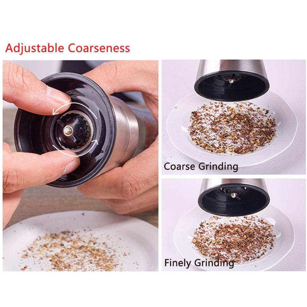 Pepper Grinder Mill Salt Pepper Grinder Glass Sea Salt and Spice Shakers Adjustable Coarseness Mills  Easy To Clean