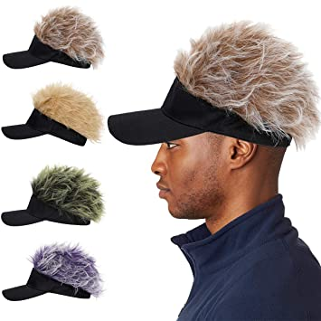 Golfer Hat With Hair Sun Visor Sport Fancy Dress Wig