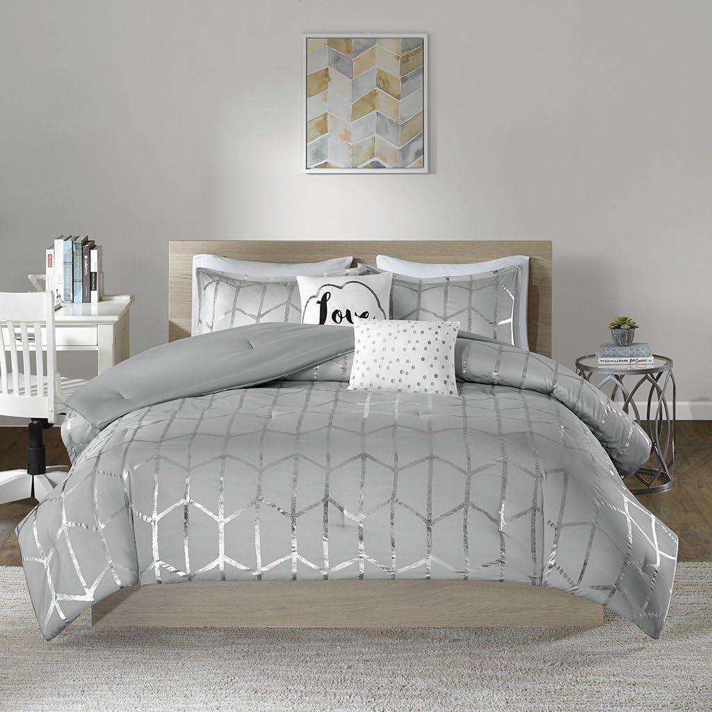 Intelligent Design Raina Comforter Set Twin/Twin XL Size - Grey Silver, Geometric – 4 Piece Bed Sets – Ultra Soft Microfiber Teen Bedding for Girls Bedroom