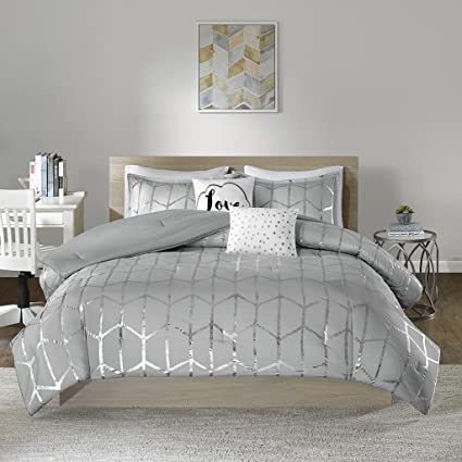 Intelligent Design Raina Comforter Set Full/Queen Size - Grey Silver,  Geometric – 5 Piece Bed Sets – Ultra Soft Microfiber Teen Bedding for Girls  ...