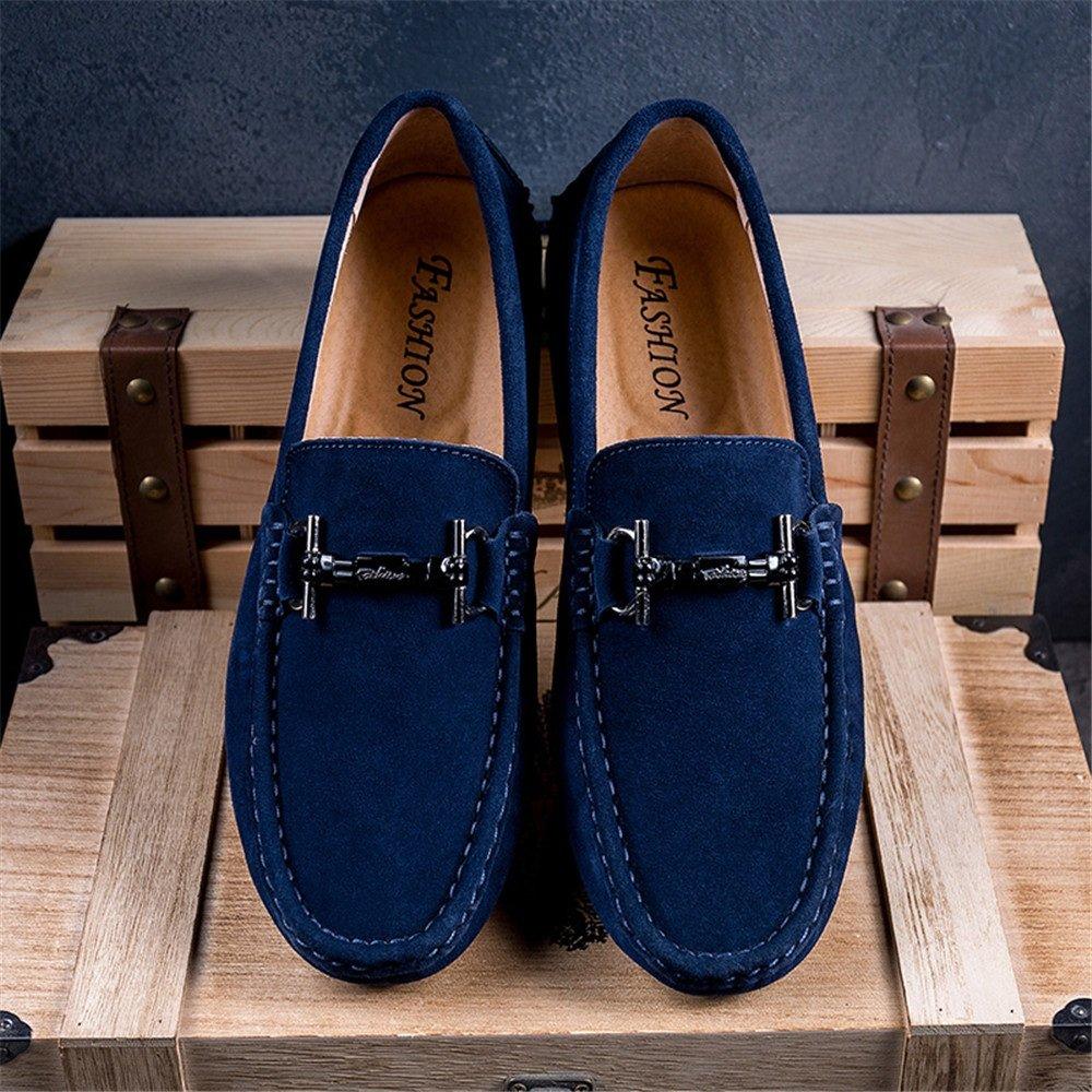 Männer Fahren Loafers Casual Leder atmungsaktiv Schleifen Stil und hohl atmungsaktiv Leder Anti Rutsch Soft Bottom Boot Mokassins RoyalBlau 7c9482
