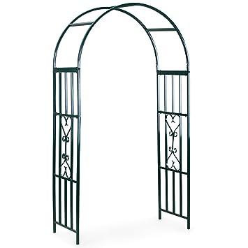 VonHaus Dark Green Metal Garden Arbor Trellis Arch Arbour For Gardening,  Weddings, Gate And