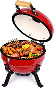TUSY Advanced Portable Ceramic Grill,12-Inch Foldable Barbecue Grilling Charcoal Oven with Digital Thermometer.