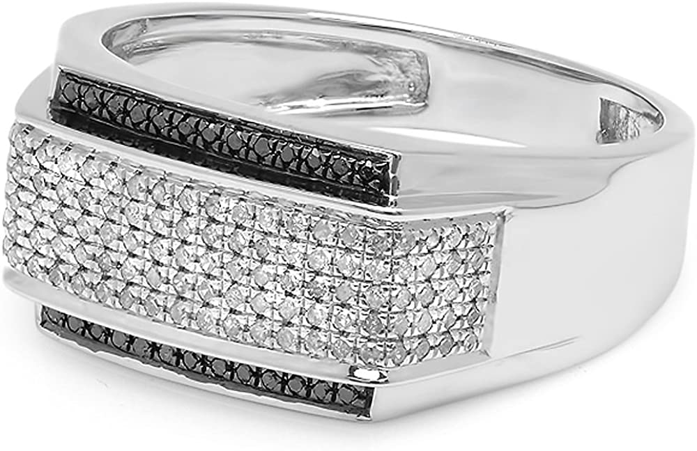 Sterling Silver Dazzlingrock Collection 0.45 Carat White /& Black Diamond Mens Hip Hop Pinky Ring 1//2 CT ctw