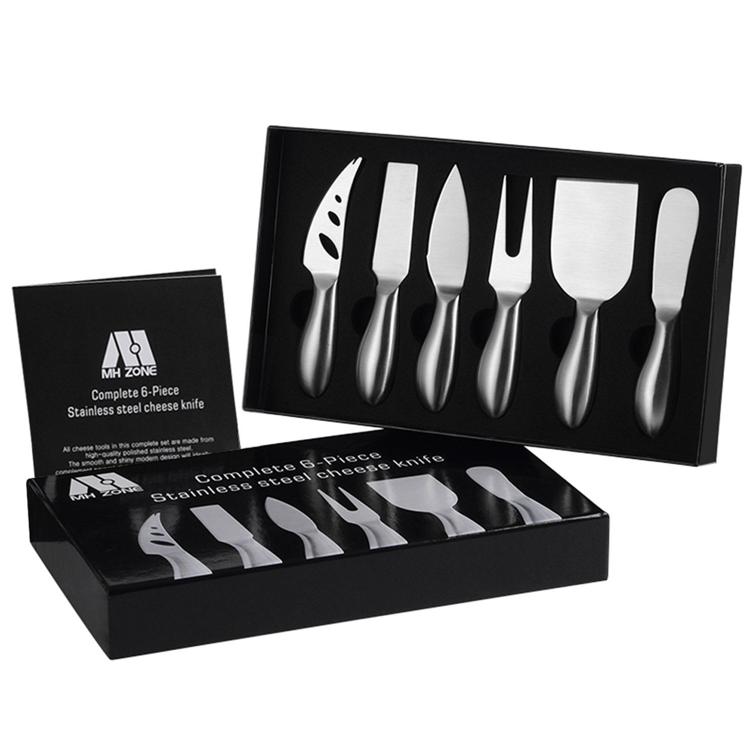 Premium 6-Piece Cheese Knife Set - M MH ZONE Complete Stainless Steel Cheese Knives Gift Knives Sets Collection, Suit for the Wedding, Lover, Elders, Children and Friends, Perfect School Supplies
