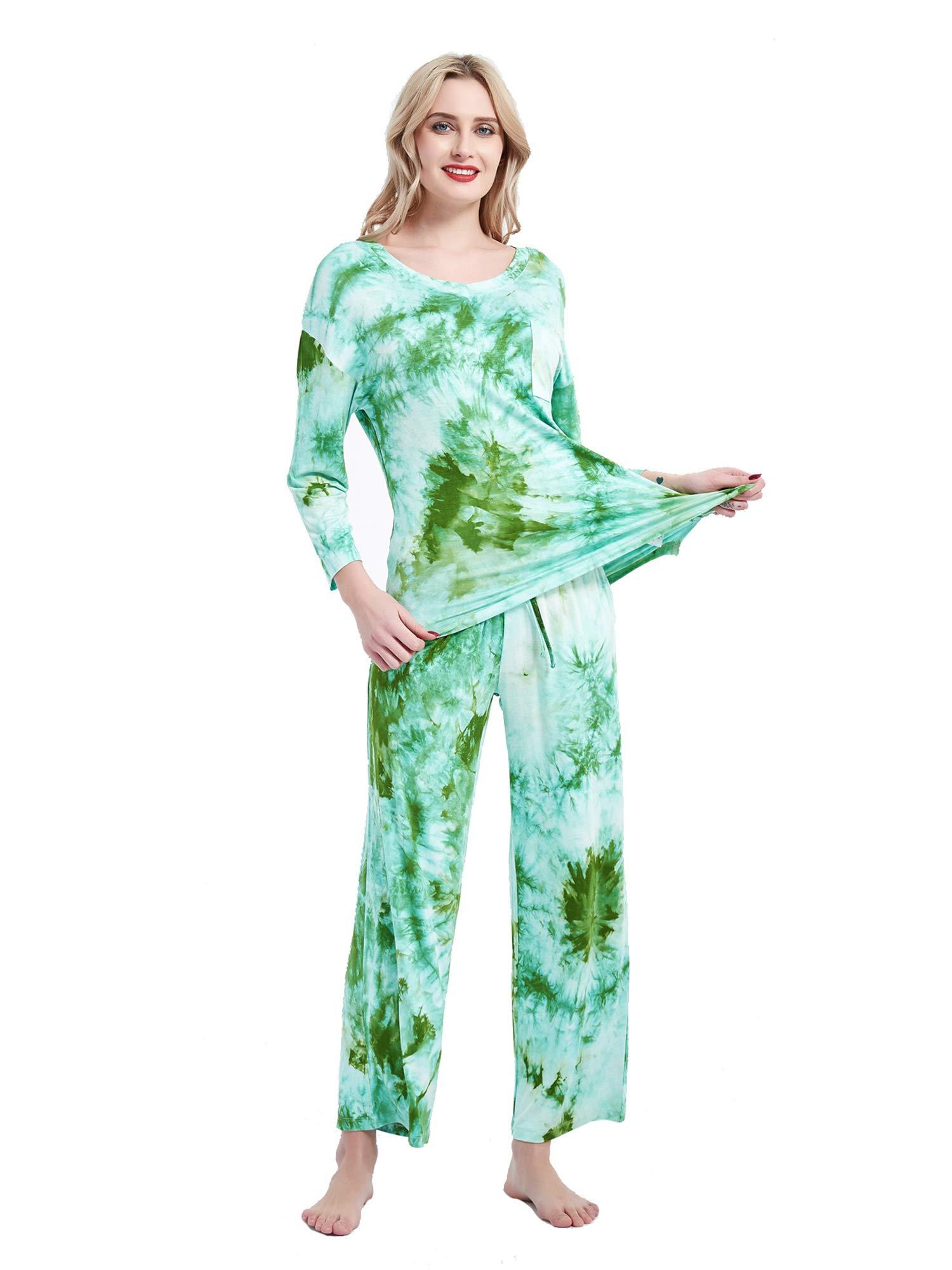 Arcwares Womens Printed Tie Dye Pajamas Set Long Sleeve Tops and Long