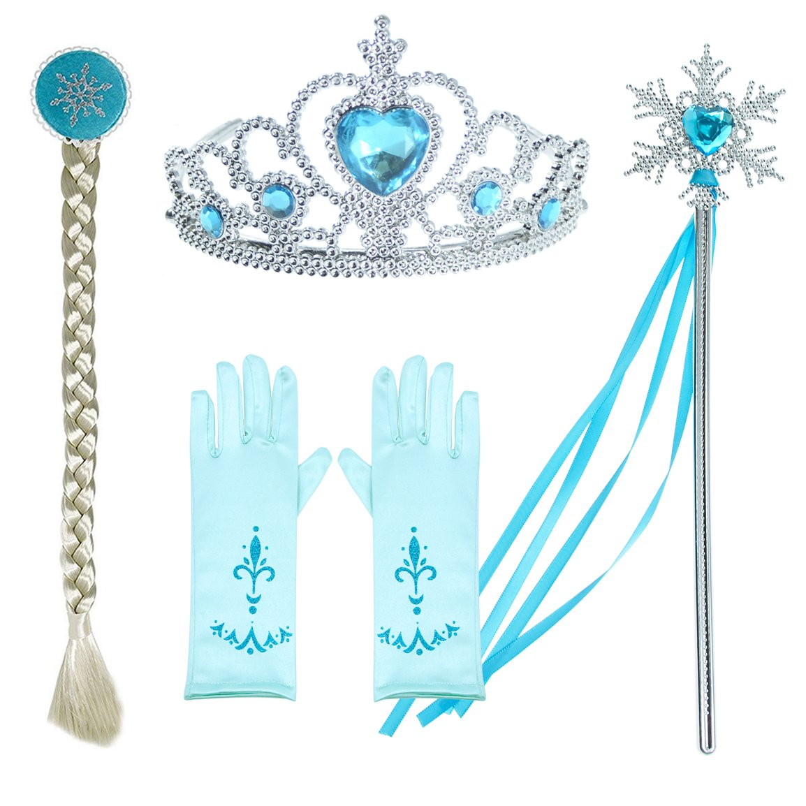 Princess Snow Queen Elsa Costumes Fancy Party Birthday Dress Up For Girls with Accessories 4-5 Years(110cm) by Party Chili (Image #2)