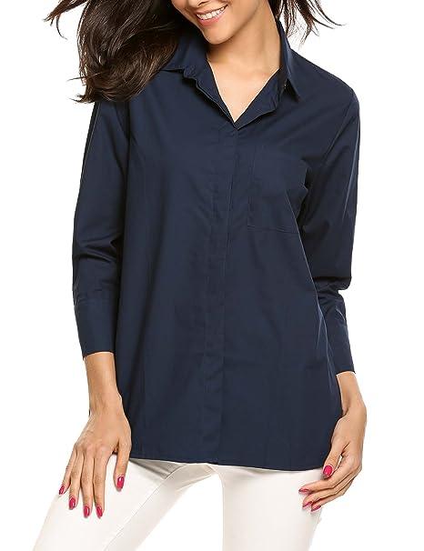 53f45c3c1 Zeagoo Womens Tailored Short Sleeve Basic Casual Button-Down Shirt ...