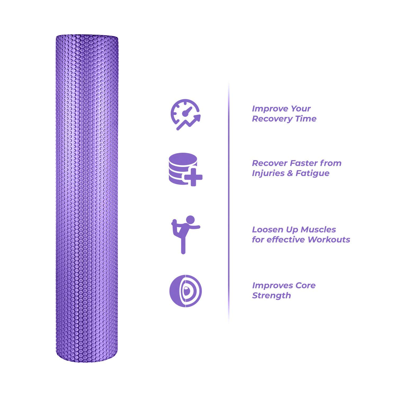 spinway Yoga Foam Roller Speckled Foam Rollers for Muscles Extra Firm High Density for Physical Therapy Exercise Deep Tissue Muscle Massage (Puple) by spinway (Image #2)
