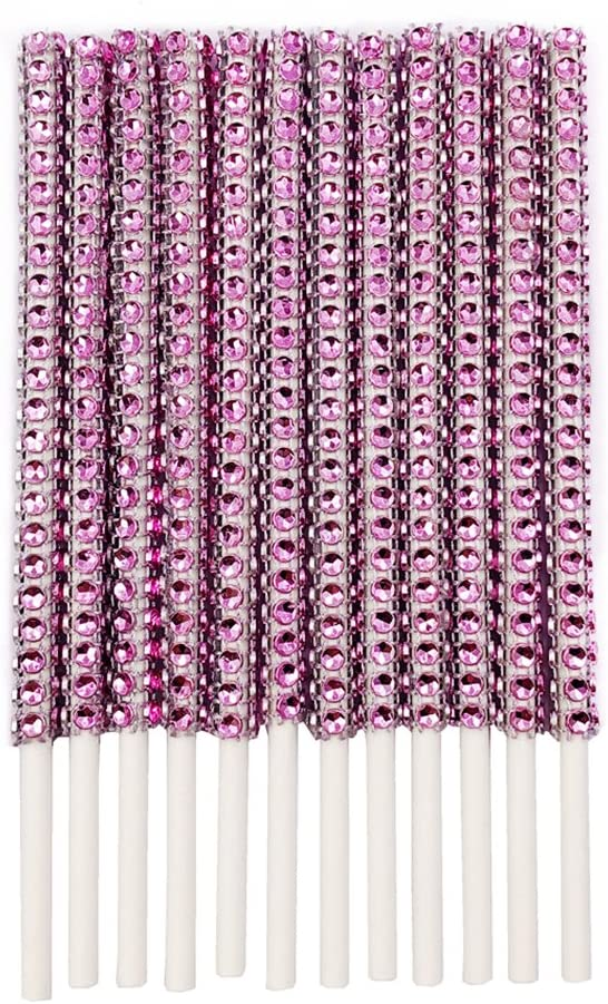 Rhinestone Bling Paper Sticks for Lollipop Cake Pop Apple Candy Buffet Treat Party Favor 6 inch (Pink, Pack of 24)