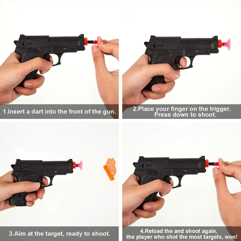 20 Dardos de Ventosa Suave 8 Objetivos para Adolescentes y Adultos Juego de Pistola de Dardos Apuntar la Pistola de Polic/ía de 32 Piezas Incluye 4 Pistolas de Juguete