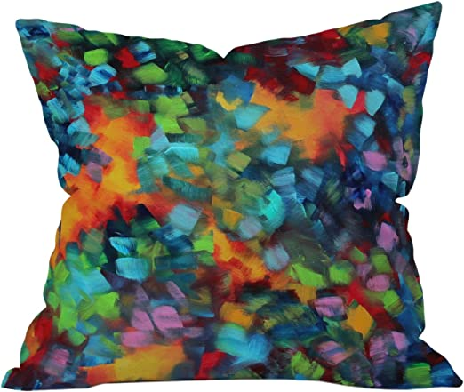 Deny Designs Madart Inc Blue And Yellow Florals Outdoor Throw Pillow 16 x 16