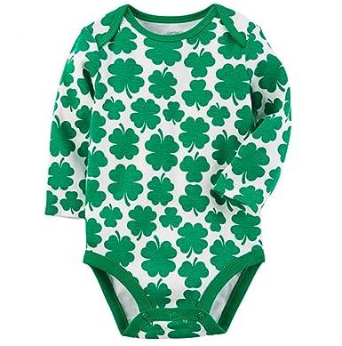 0a78c1540 Carters Baby Boy/Girl St Patrick's Day Shamrock Bodysuit (Newborn) Green