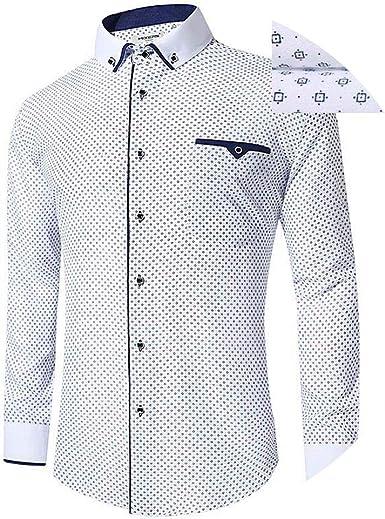 Camisa Blanca de Manga Larga para Hombre, Camisa de Negocios, Casual, Camisa de Vestir cómoda, Camisa Masculina - - EU Talla Mediano: Amazon.es: Ropa y accesorios