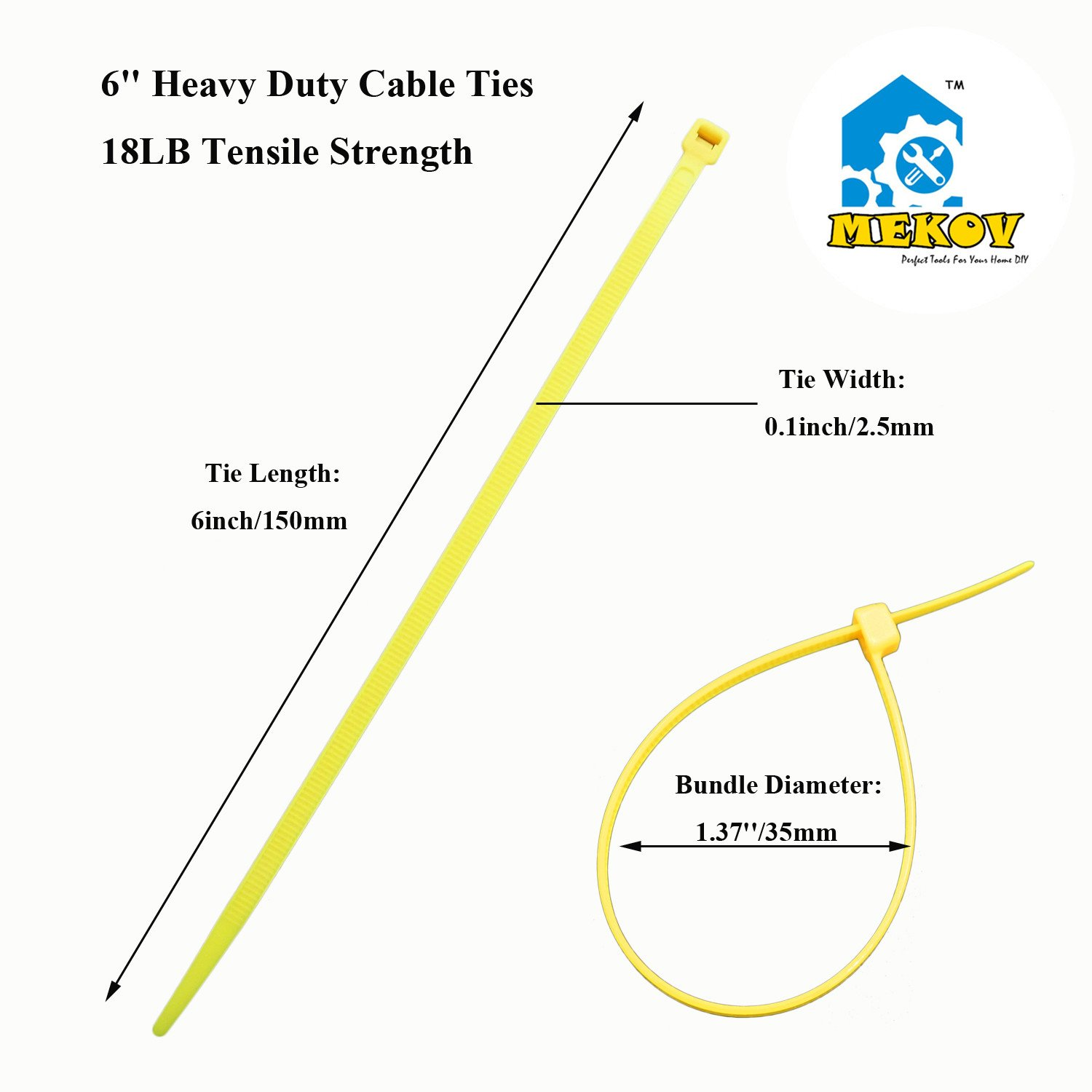 Nylon Cable Ties, Mekov, 6 Inch Heavy Duty Cable Ties, 18-LB Tensile Strength, Zip Ties with 0.1 Inch Width, Durable, Indoor & Outdoor use, UV Resistant (6'', 1000 Pack, Yellow) by Mekov (Image #1)