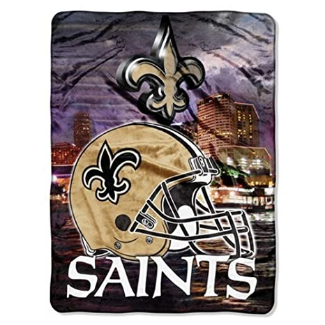Amazon NFL Aggression Raschel Throw NFL Team New Orleans Magnificent Team Throw Blankets