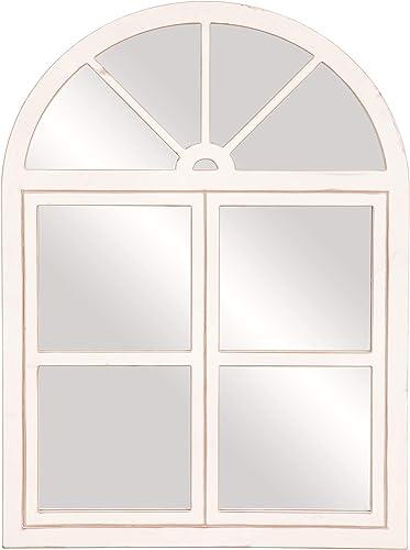 Rustic White Farmhouse Arch Windowpane Wall Mirror