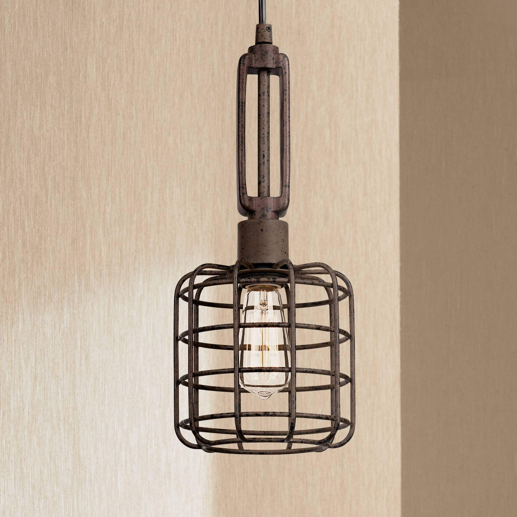Industrial Cage 7'' Wide Rust Metal Mini Pendant Light - Franklin Iron Works