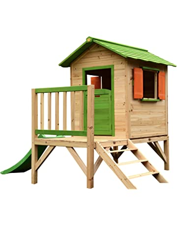 506cb9f6b9ff Chestnut Wooden Painted Tower Playhouse with Slide, Easy Assembly Childrens  Play House 7 x 6