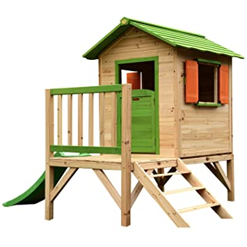 Chestnut Wooden Painted Tower Playhouse With Slide Easy Assembly Childrens Play House 7 X 6 Feet