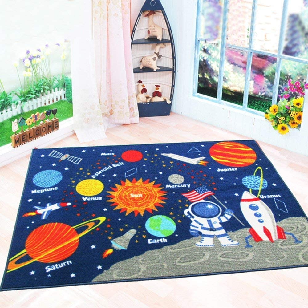Round Mat Bedroom Carpet Living Room Area Rugs Space Stars Earth Surface Fire