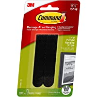 Command Picture Hanging Strips Heavy Duty, Large, Black, Holds 16 lbs, 4-Pairs - 1 Pack