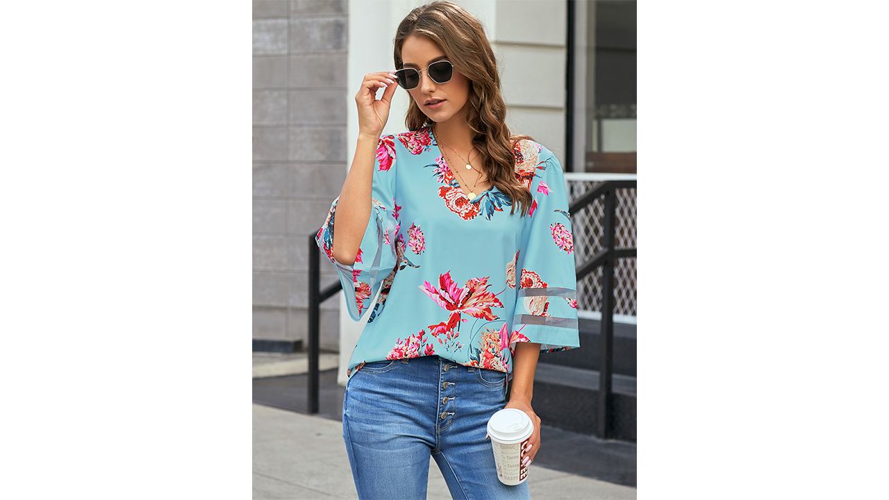LookbookStore Women's V Neck Mesh Panel Blouse 3/4 Bell Sleeve Loose Top Shirt 3