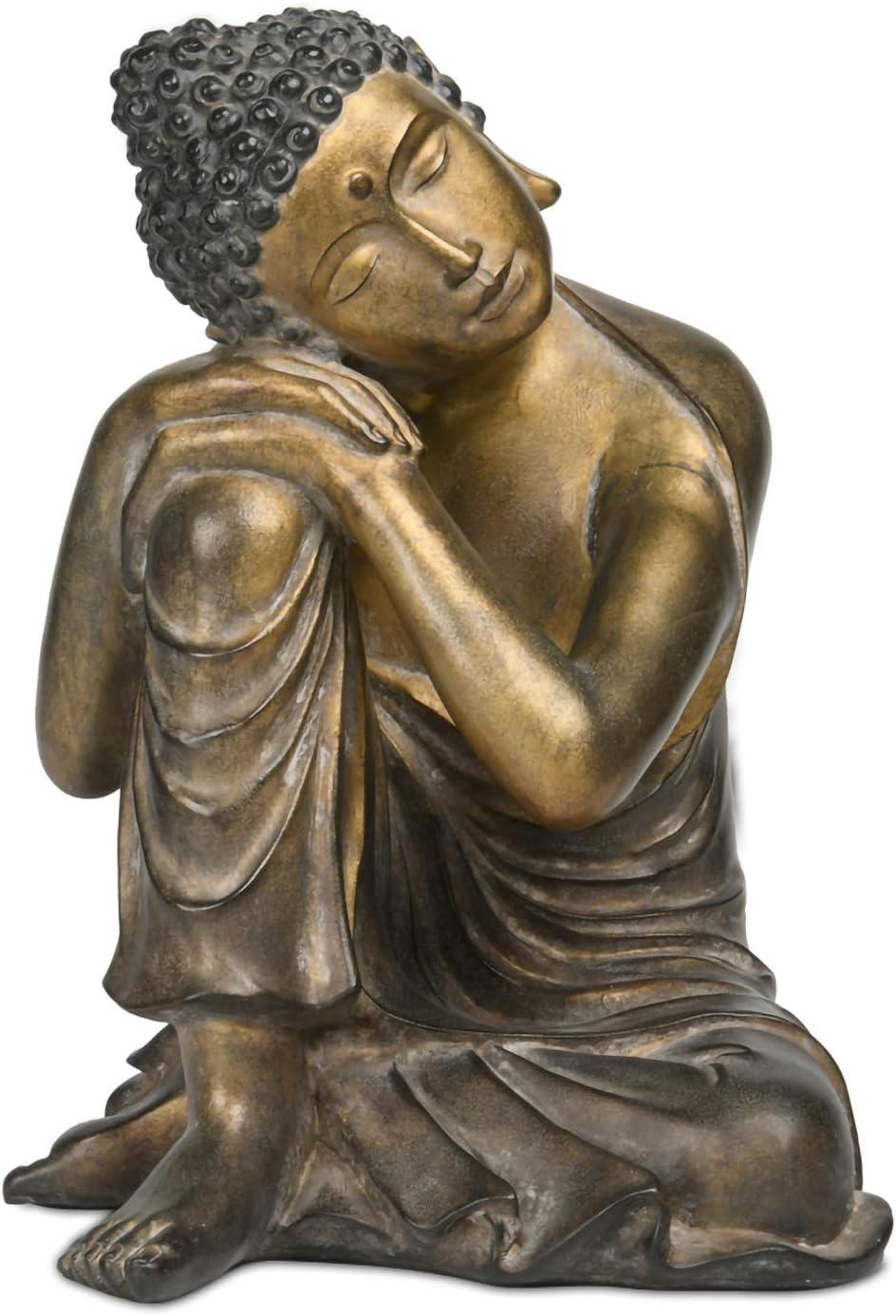 Sleeping Buddha-Statue Decorative Bronze Sitting Meditating Buddha Figurine for Home Garden Decor 8.9L x 8.5W x 12.2H inch-Newman House Studio