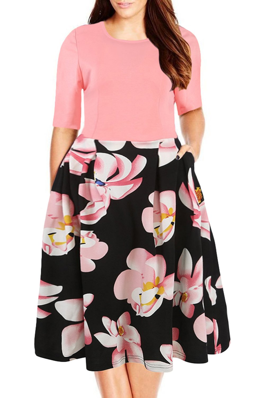 Nemidor Women's Floral Print Vintage Style Plus Size Swing Casual Party Dress (16, Pink)