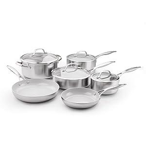 GreenPan CC000018-001 Stainless Steel Venice Pro Ceramic Non-Stick 10Pc Cookware Set, 10-Piece Light Grey