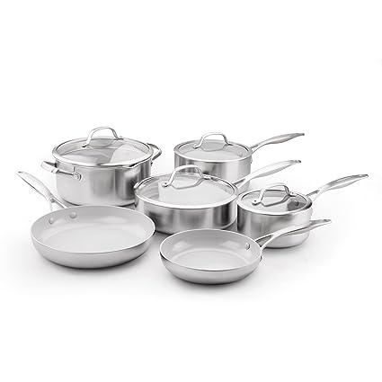 e4dee41300ee Amazon.com: GreenPan CC000018-001 Stainless Steel Venice Pro Ceramic Non- Stick 10Pc Cookware Set, Light Grey: Kitchen & Dining