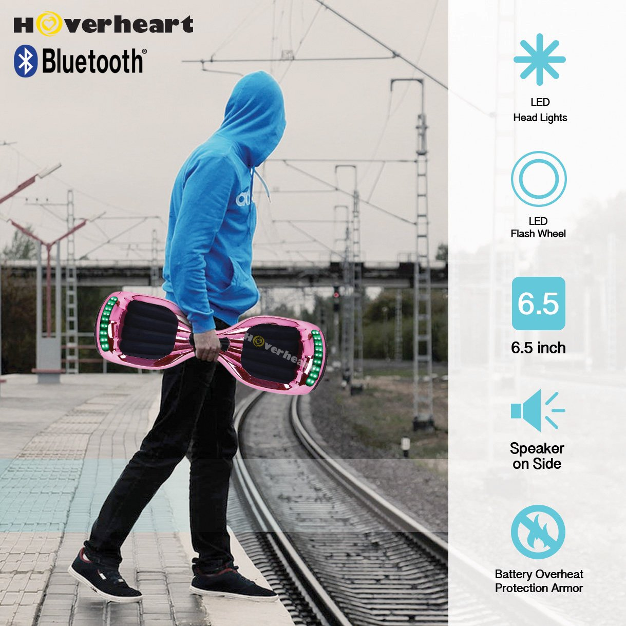 Hoverboard UL 2272 Certified Flash Wheel 6.5'' Bluetooth Speaker with LED Light Self Balancing Wheel Electric Scooter (Chrome Pink) by Hoverheart (Image #7)