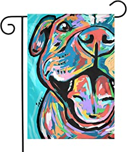 Colorful Pitbull Paintings Garden Flags House Indoor & Outdoor Welcome Decorations,Waterproof Polyester Yard Decorative for Game Family Party Banner