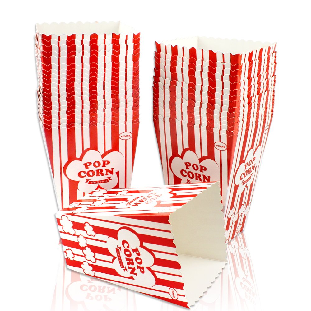 Tomnk 36pcs White & Red Paper Popcorn Cartons Popcorn Boxes for Movie Nights Party