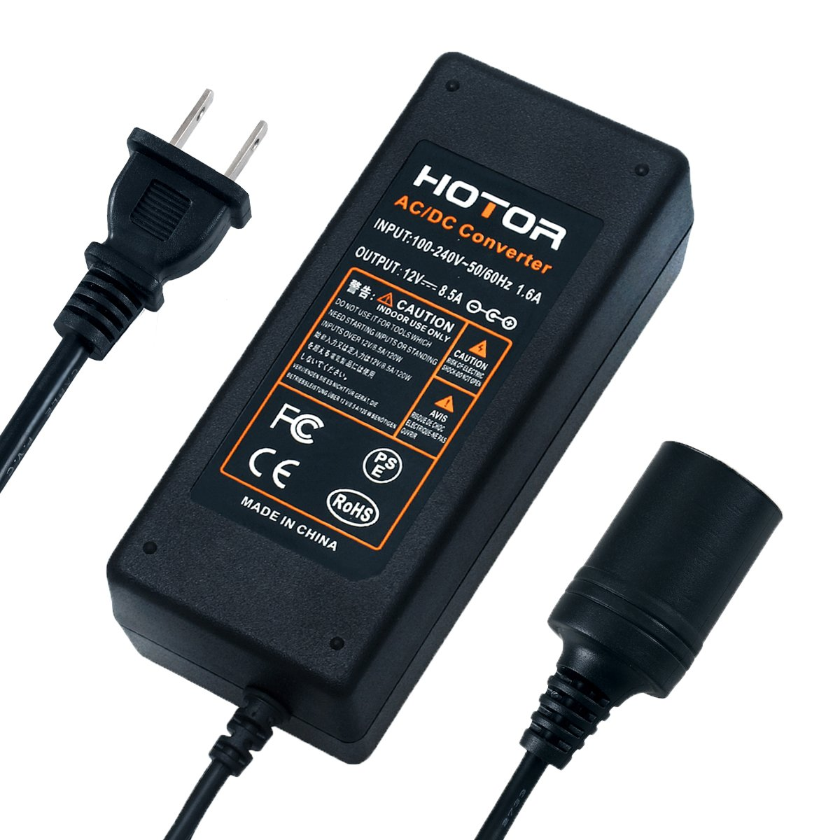AC to DC Converter, HOTOR 8.5A 100W 110-220V to 12V Car Cigarette Lighter Socket AC DC Power Adapter for Car Vacuum and Other 12V Devices Under 100W, but Don't use it for Car Refrigerator! by HOTOR