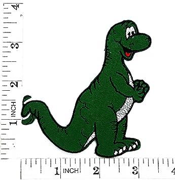 Grün Cute Dinosaurier Cartoon Kinder Patch Hand Bestickt Und
