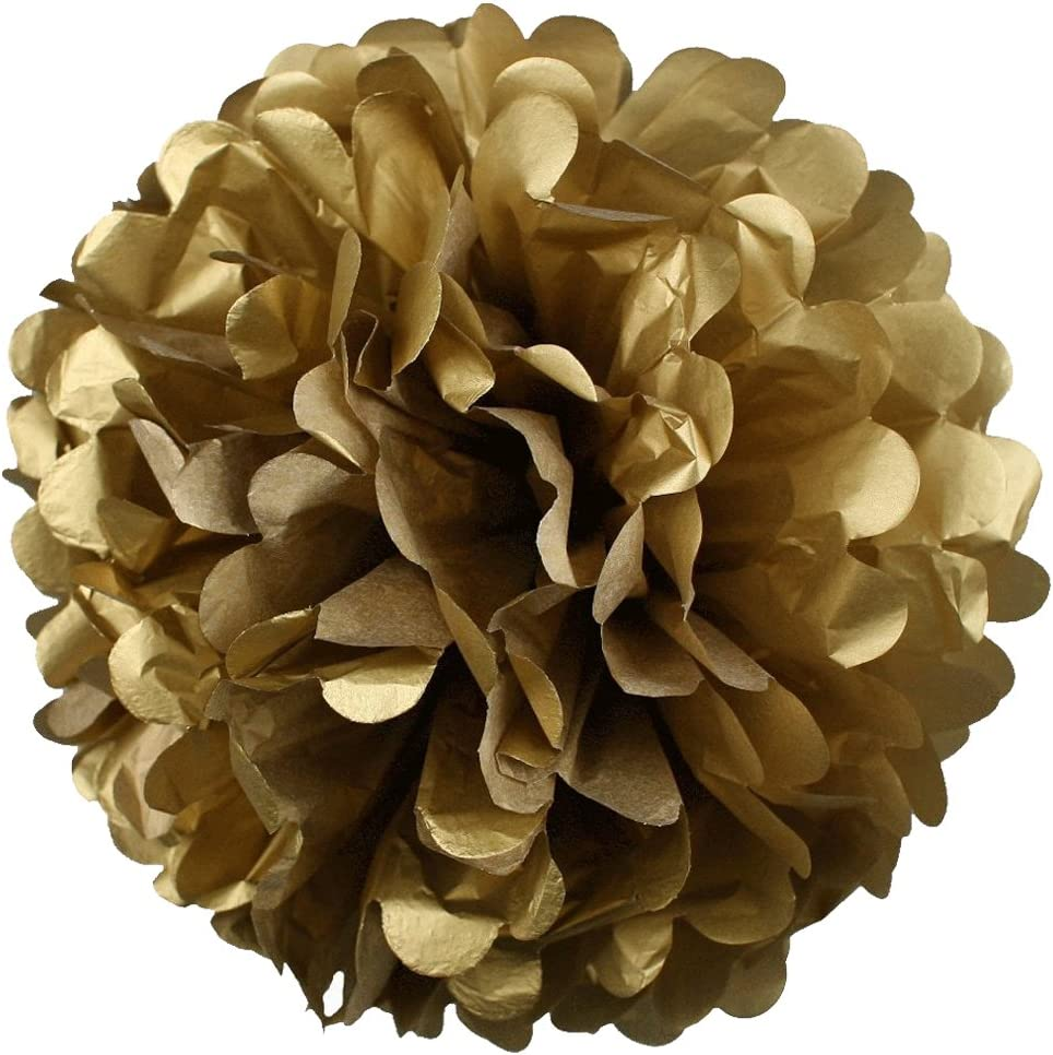 Gold Fortune 24PCS Champagne and Peach Mix 8,10,12 With 4 Colors Party Tissue Paper Pom Poms Kit Flower Ball for Wedding Birthday Baby Shower Bachelorette Nursery Decor and Party Outdoor Decora