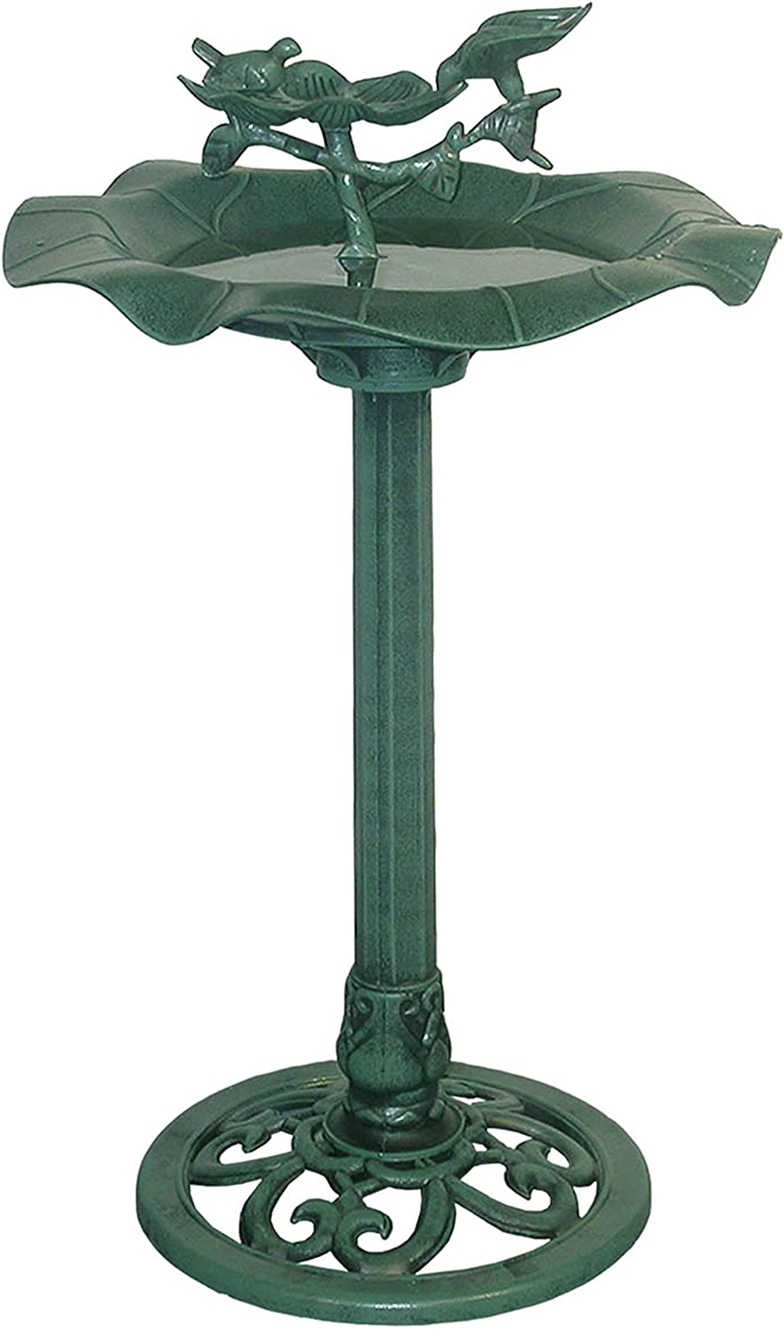 "Alpine Corporation 33"" Tall Outdoor Lotus Birdbath Yard Statue, Green"