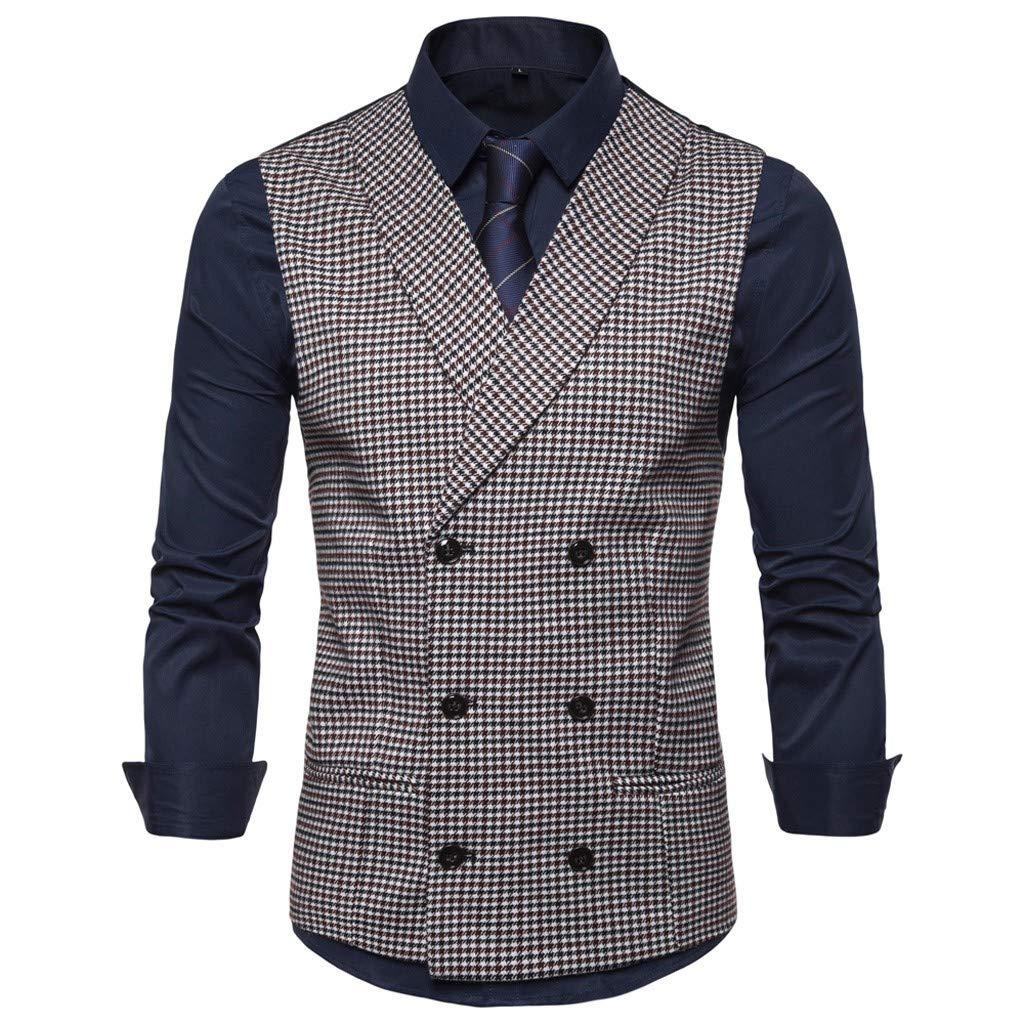 Men's Fashion Business Casual Wedding Waistcoat Tops Vest Jacket Top CoatWedding Waistcoat Tronet by Tronet Men's tops