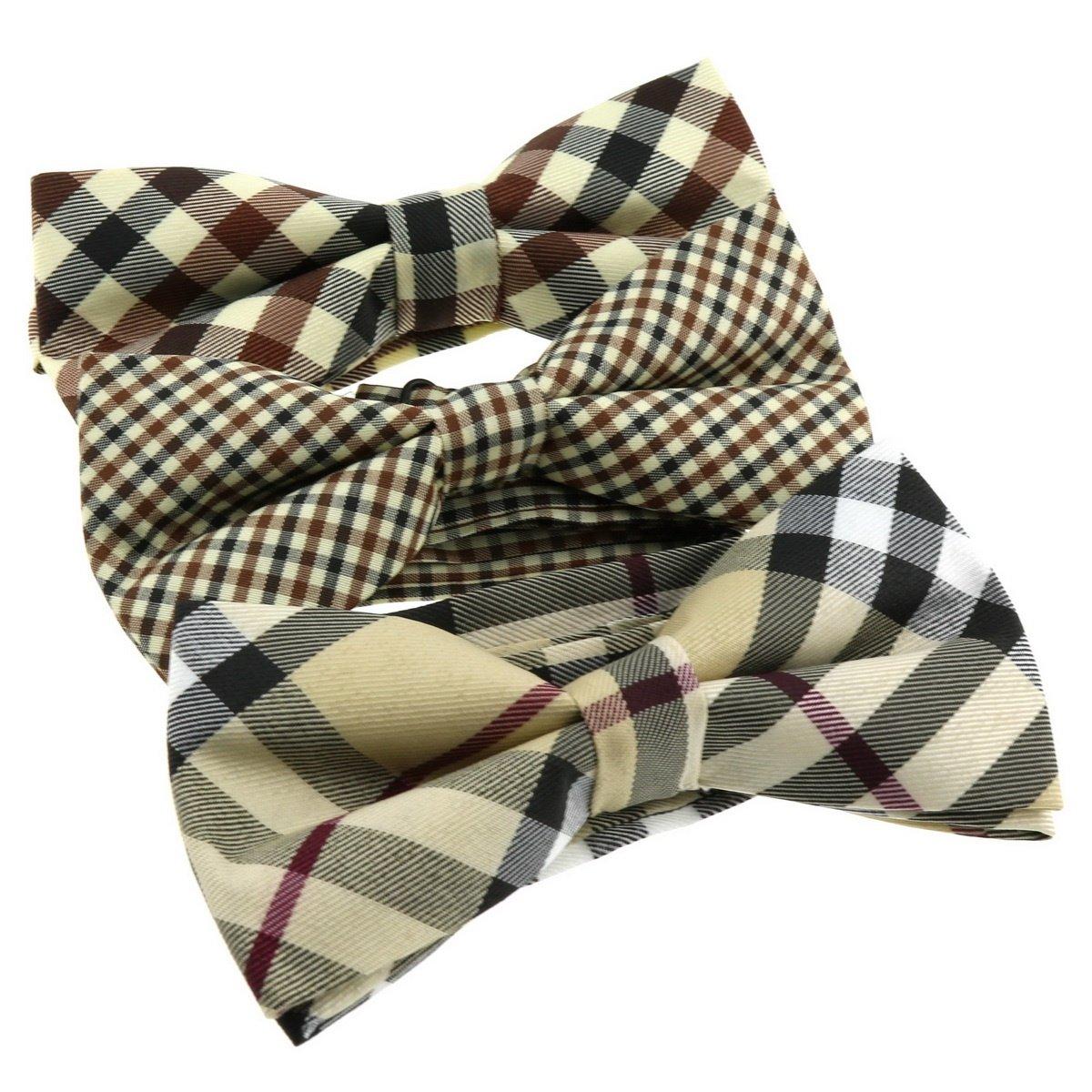 Ukerdo Beige Color Special Design Bow Tie Series Mixed Lot Adjustable Neckwear - 3pcs MixBowtie-049